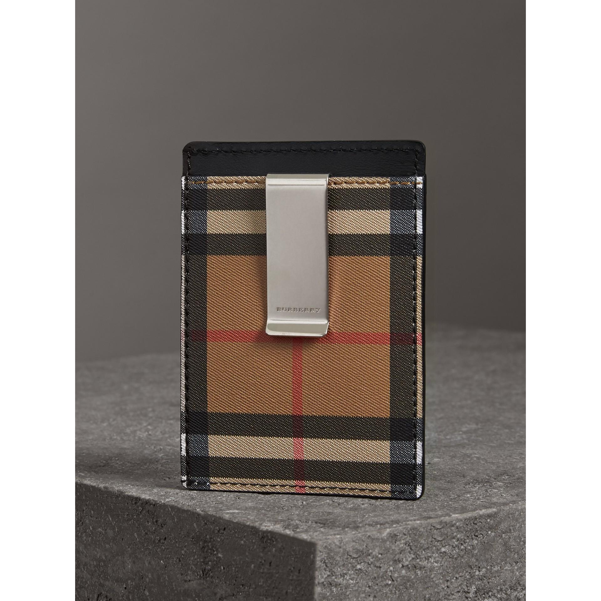 ヴィンテージチェック&レザー マネークリップ カードケース (ブラック) - メンズ | バーバリー - ギャラリーイメージ 2