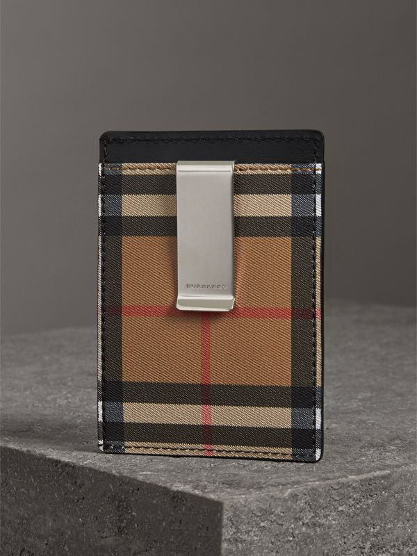 Vintage Check and Leather Money Clip Card Case in Black - Men | Burberry - cell image 2