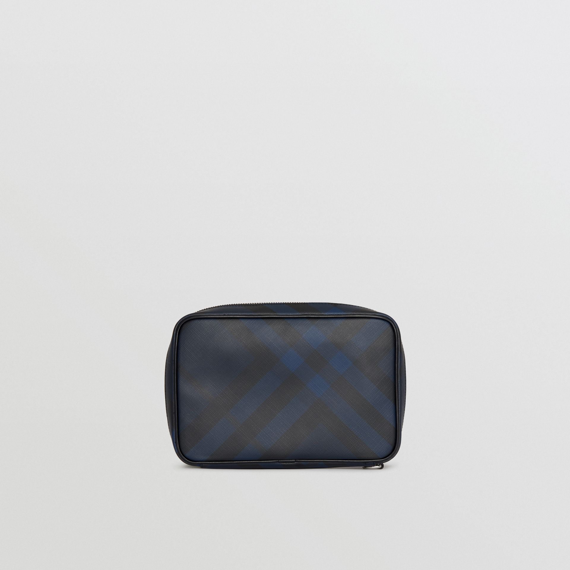 London Check Travel Pouch in Navy/black - Men | Burberry - gallery image 7
