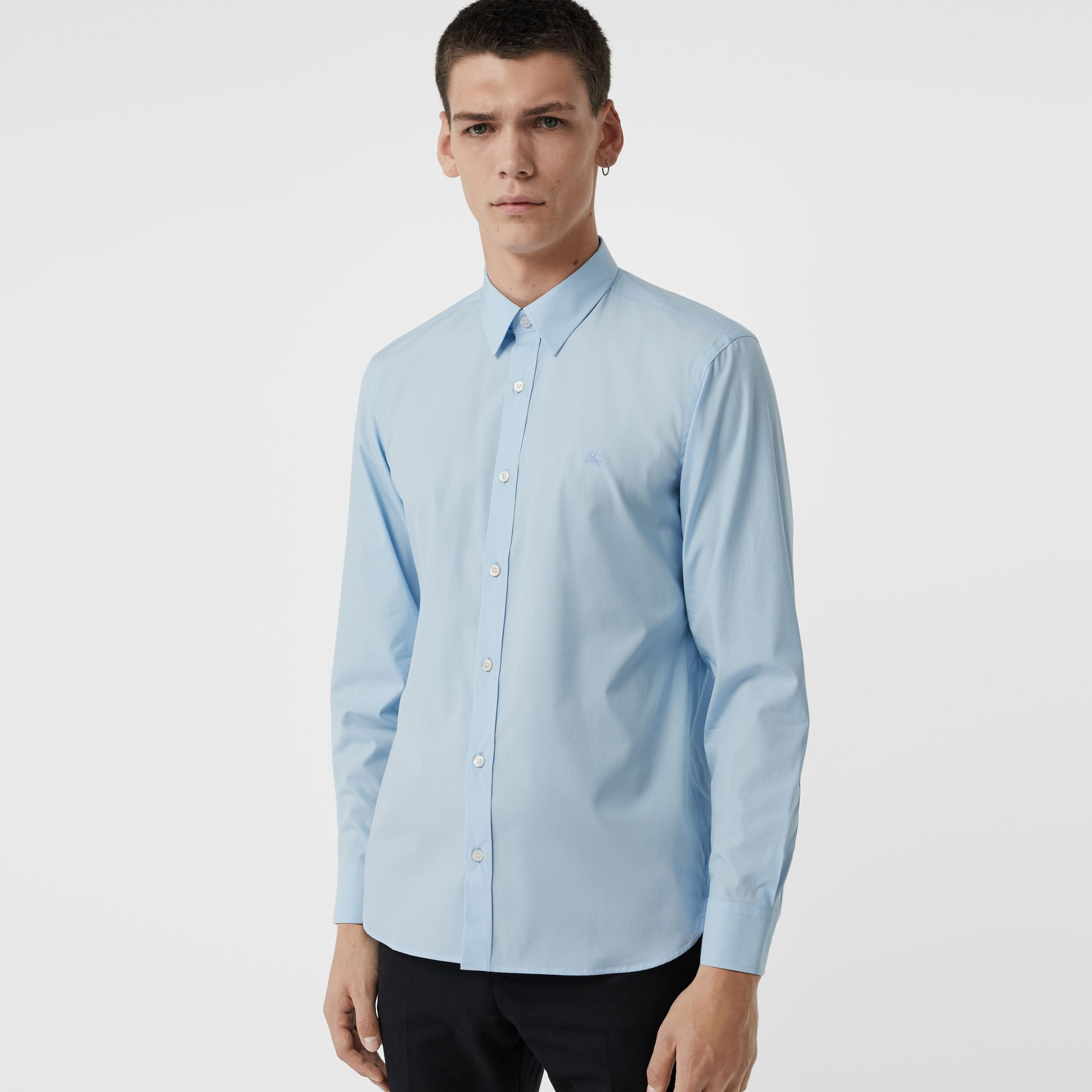 Check Cuff Stretch Cotton Poplin Shirt in Pale Blue - Men | Burberry - gallery image 0