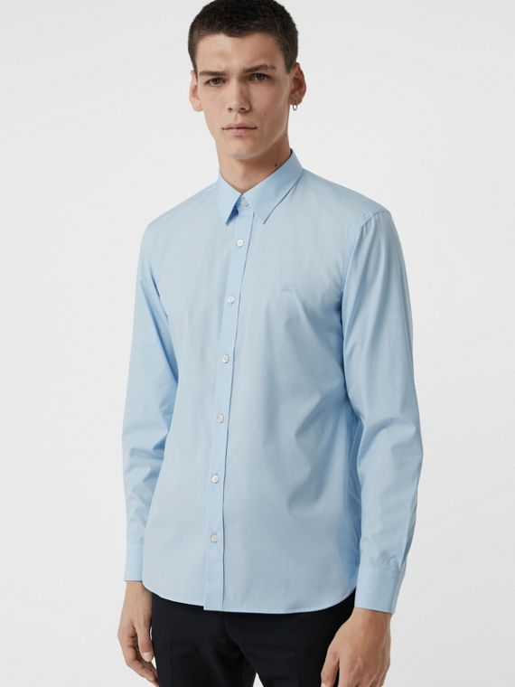 Check Cuff Stretch Cotton Poplin Shirt in Pale Blue