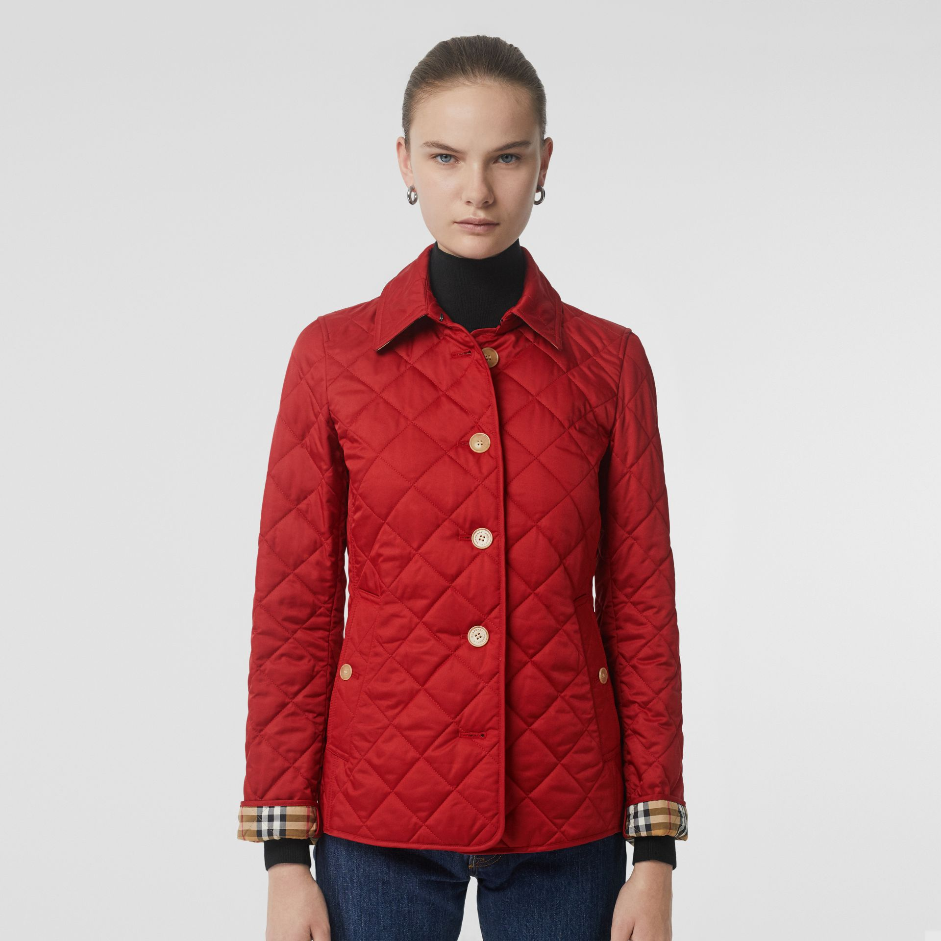 Diamond Quilted Jacket in Military Red - Women | Burberry United Kingdom - gallery image 6