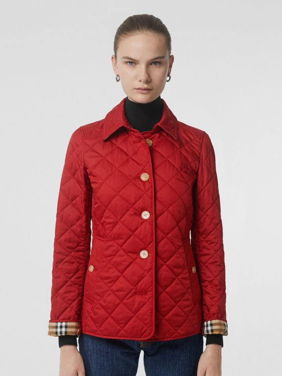 Diamond Quilted Jacket in Military Red