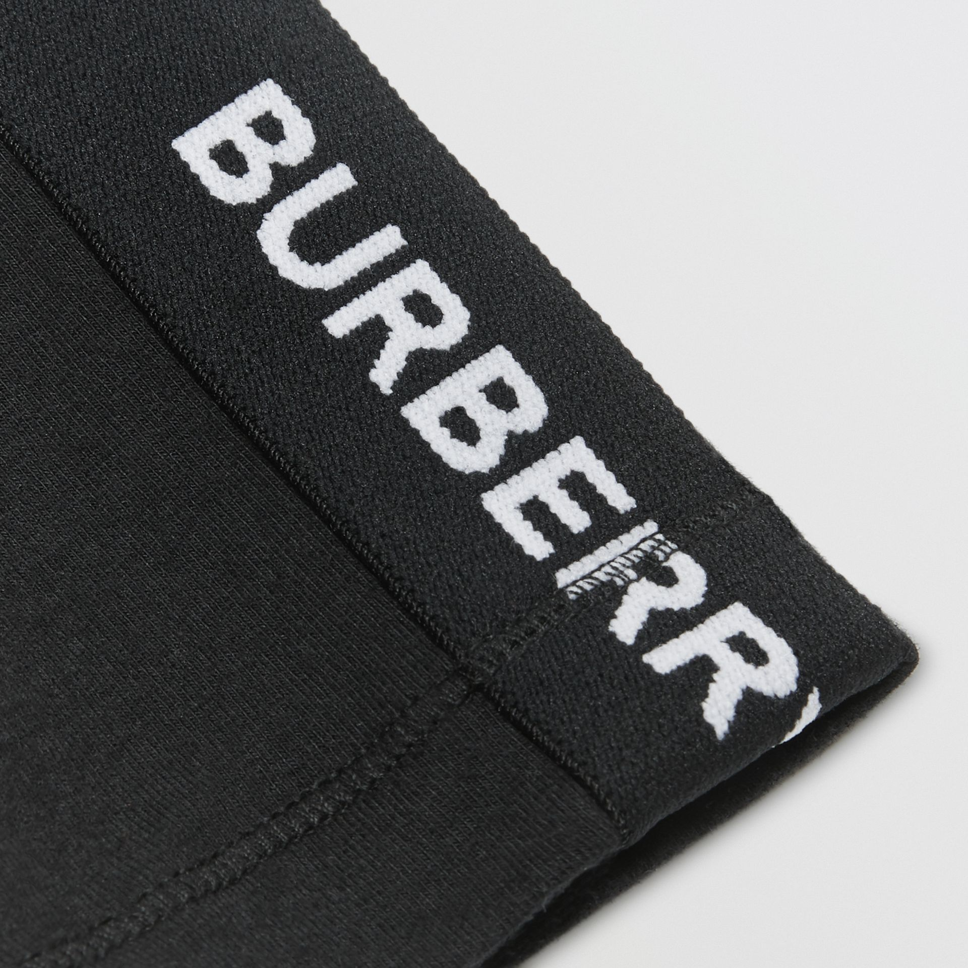 Logo Detail Stretch Cotton Jersey Leggings in Black - Children | Burberry Australia - gallery image 1