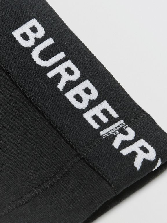 Logo Detail Stretch Cotton Jersey Leggings in Black - Children | Burberry Hong Kong - cell image 1