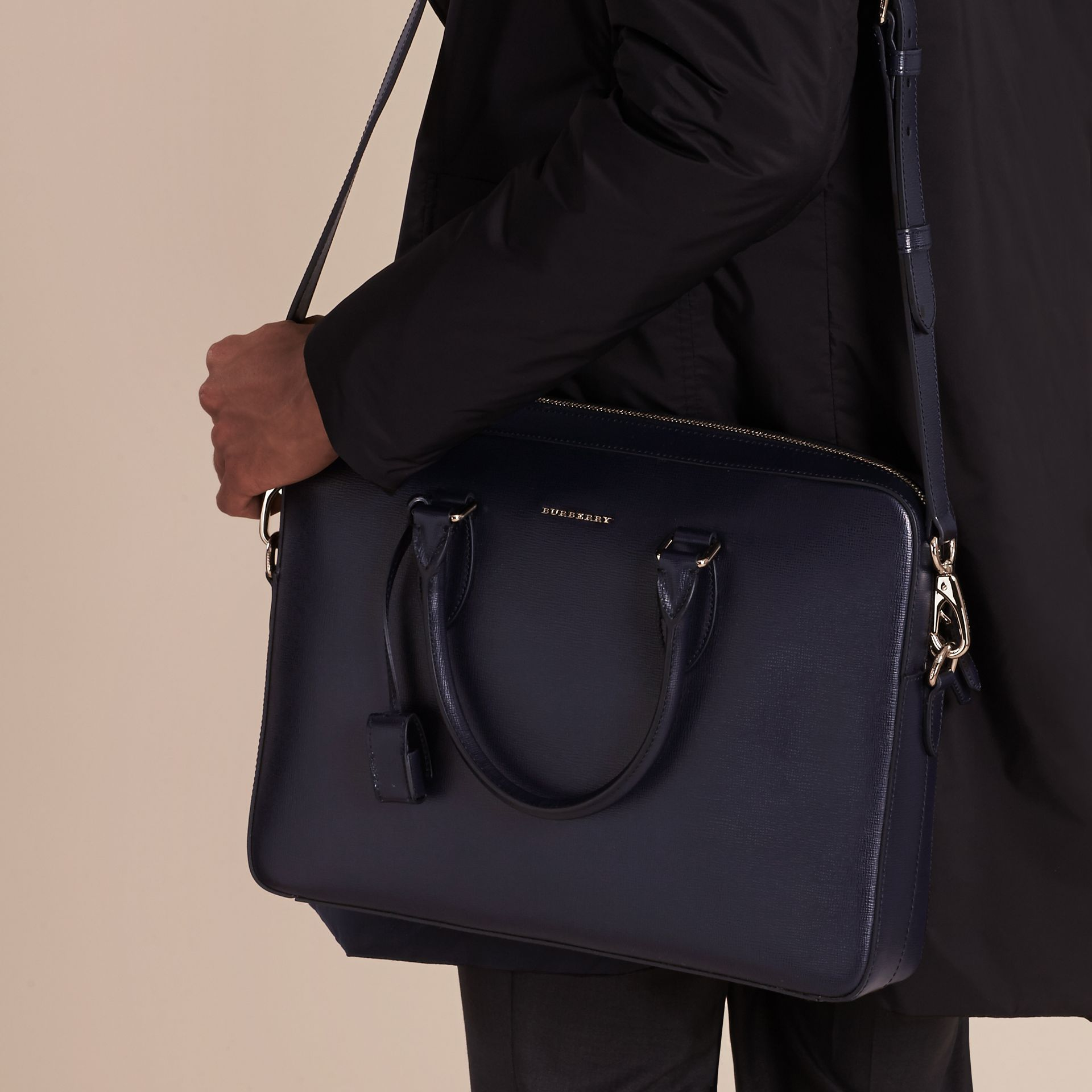 Medium London Leather Briefcase Dark Navy - gallery image 3