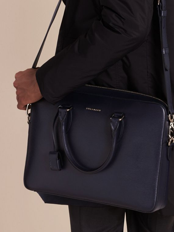 Medium London Leather Briefcase Dark Navy - cell image 2