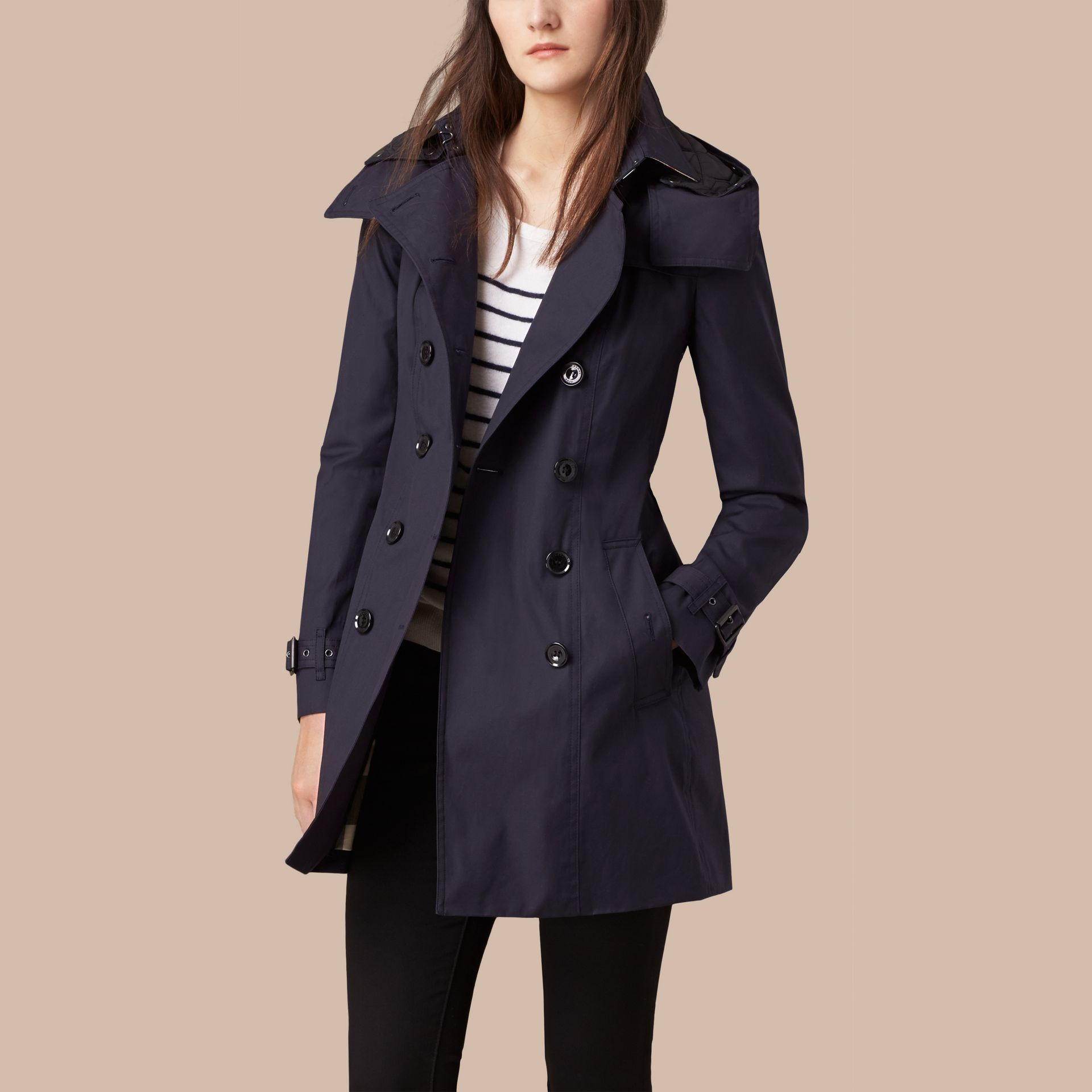 Navy Hooded Cotton Trench Coat with Warmer Navy - gallery image 4