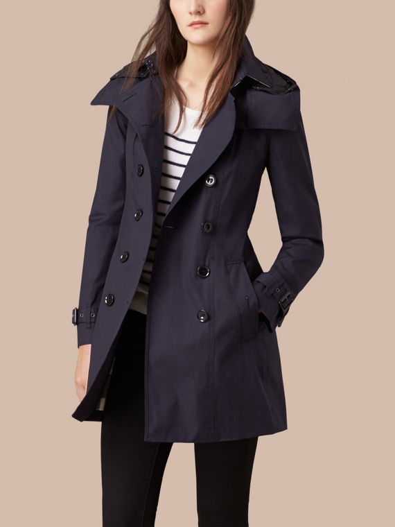 Navy Hooded Cotton Trench Coat with Warmer Navy - cell image 3