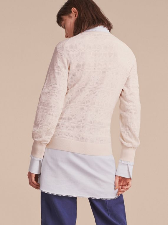 Lace Trim Knitted Wool Cashmere Sweater Natural White - cell image 2