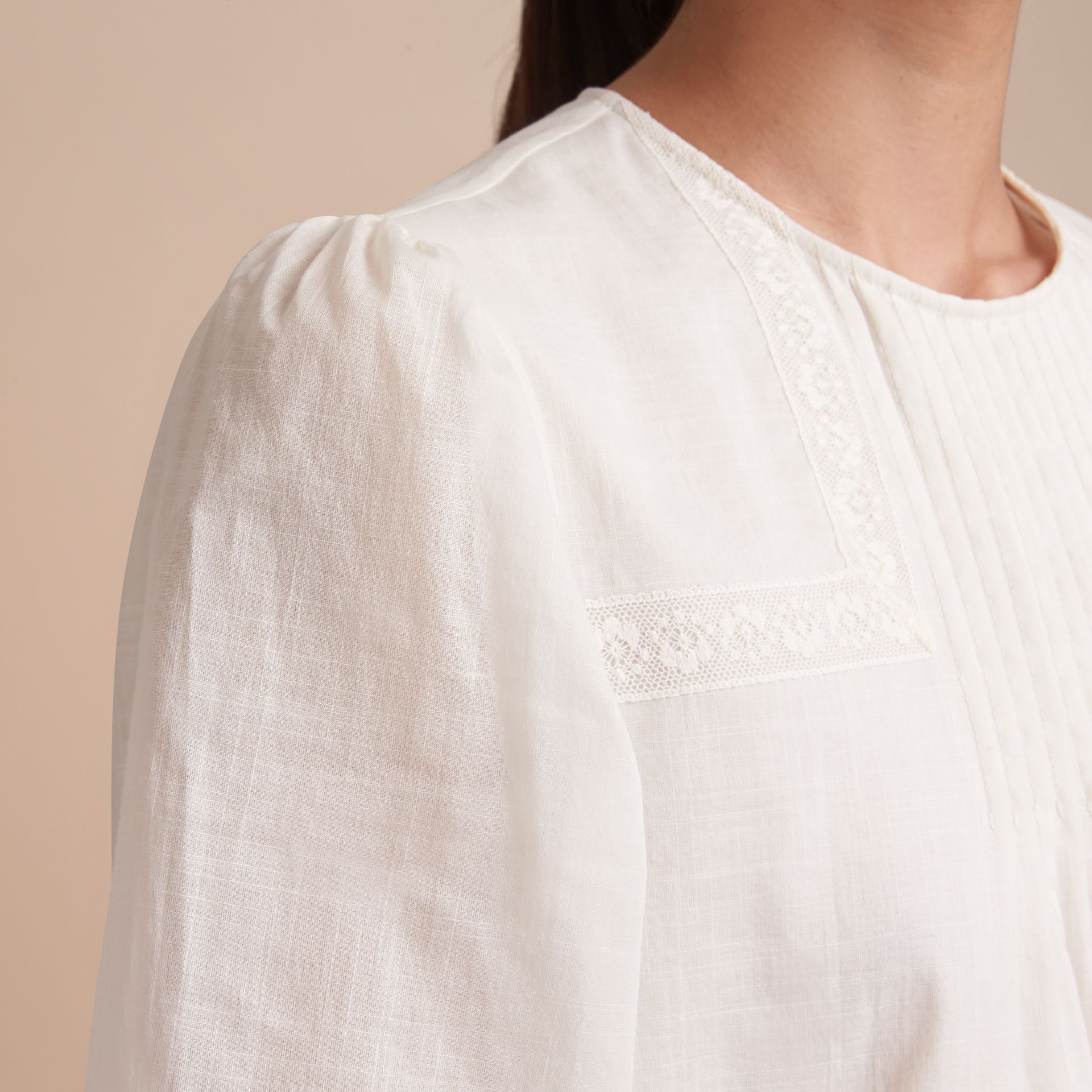 Pintuck and Lace Detail Cotton Dress in Natural White - Women | Burberry - gallery image 5
