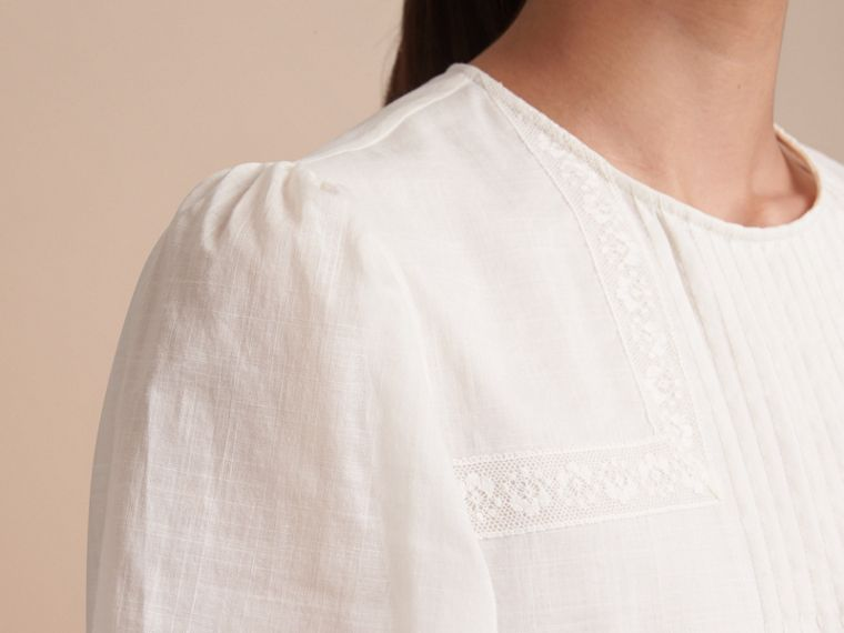 Pintuck and Lace Detail Cotton Dress in Natural White - Women | Burberry - cell image 4