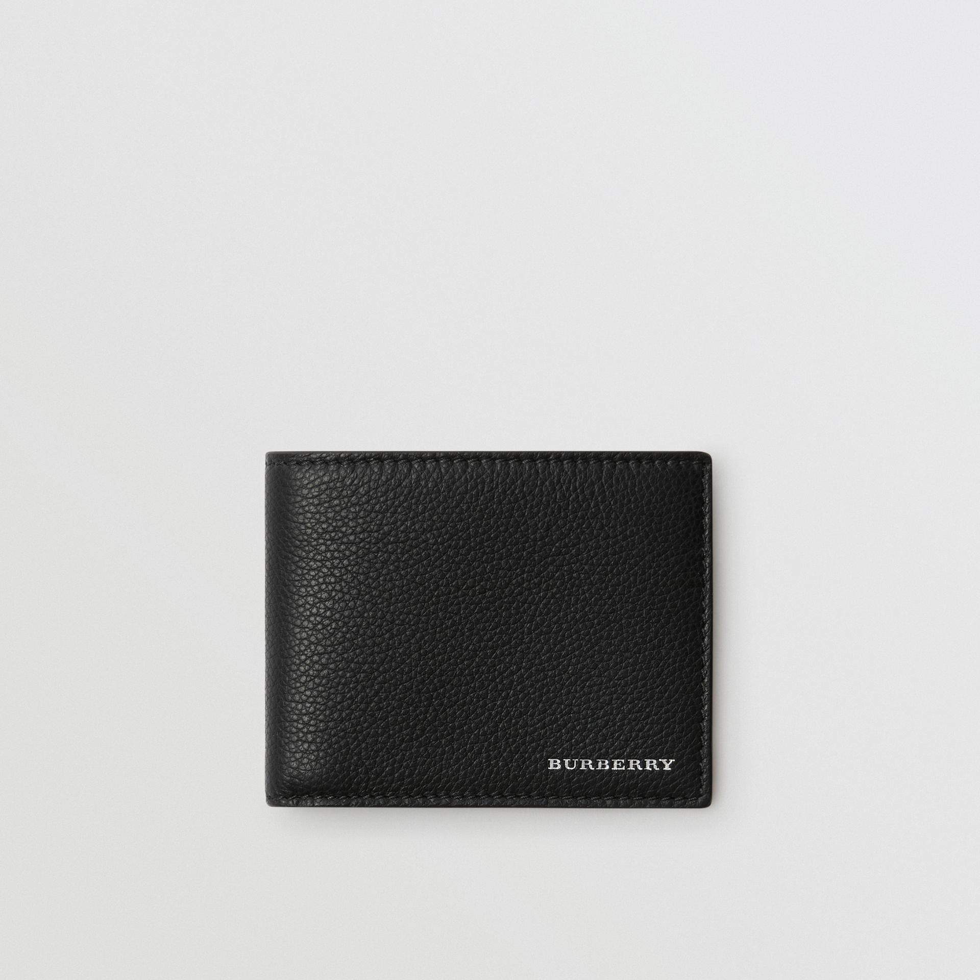 Grainy Leather Bifold Wallet in Black - Men | Burberry - gallery image 0