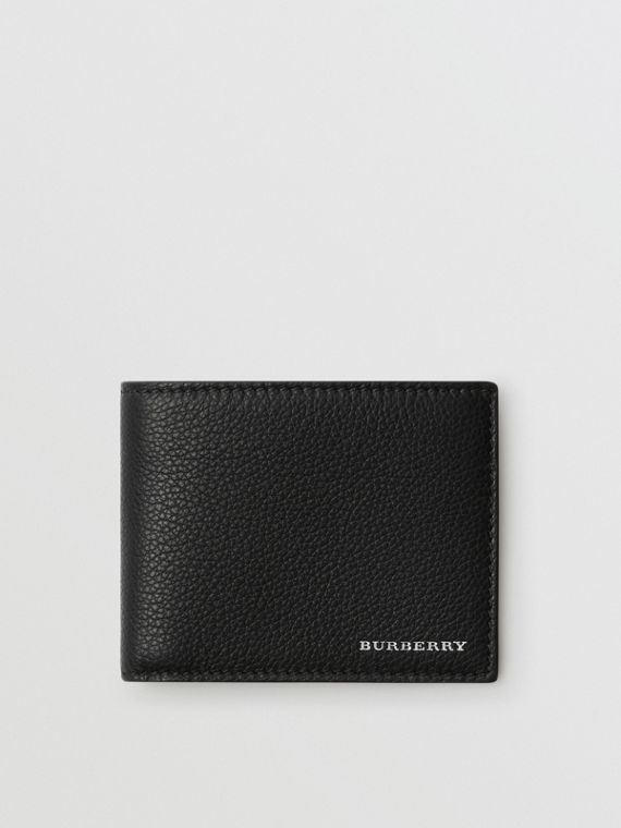 Grainy Leather Bifold Wallet in Black