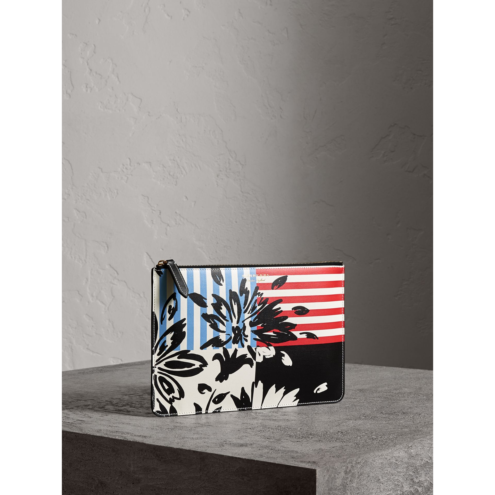 Large Floral Stripe Print Leather Zip Pouch in Patchwork | Burberry - gallery image 6