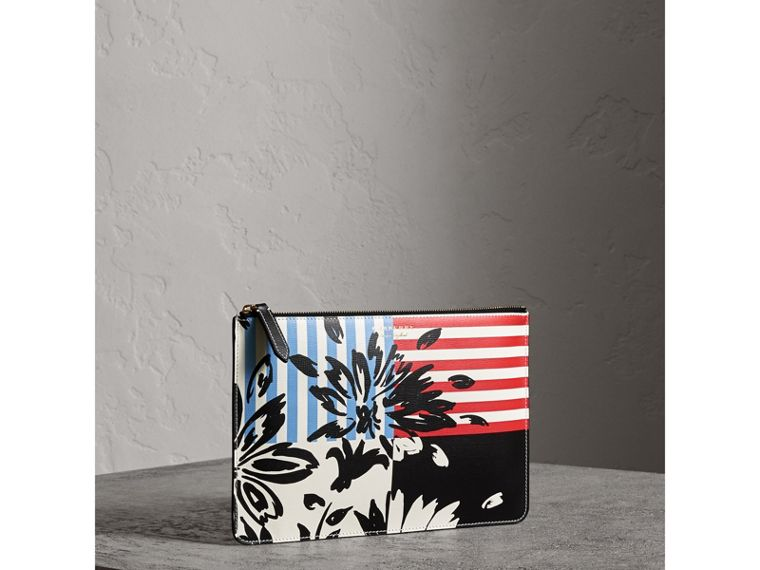 Large Floral Stripe Print Leather Zip Pouch in Patchwork | Burberry - cell image 4