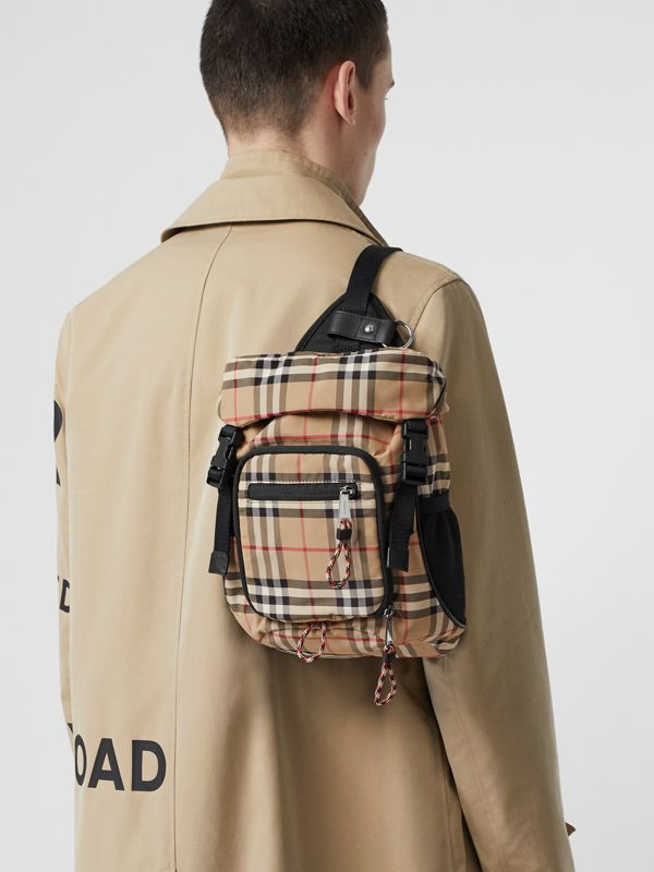 Vintage Check Nylon Leo Belt Pack in Archive Beige | Burberry - cell image 2