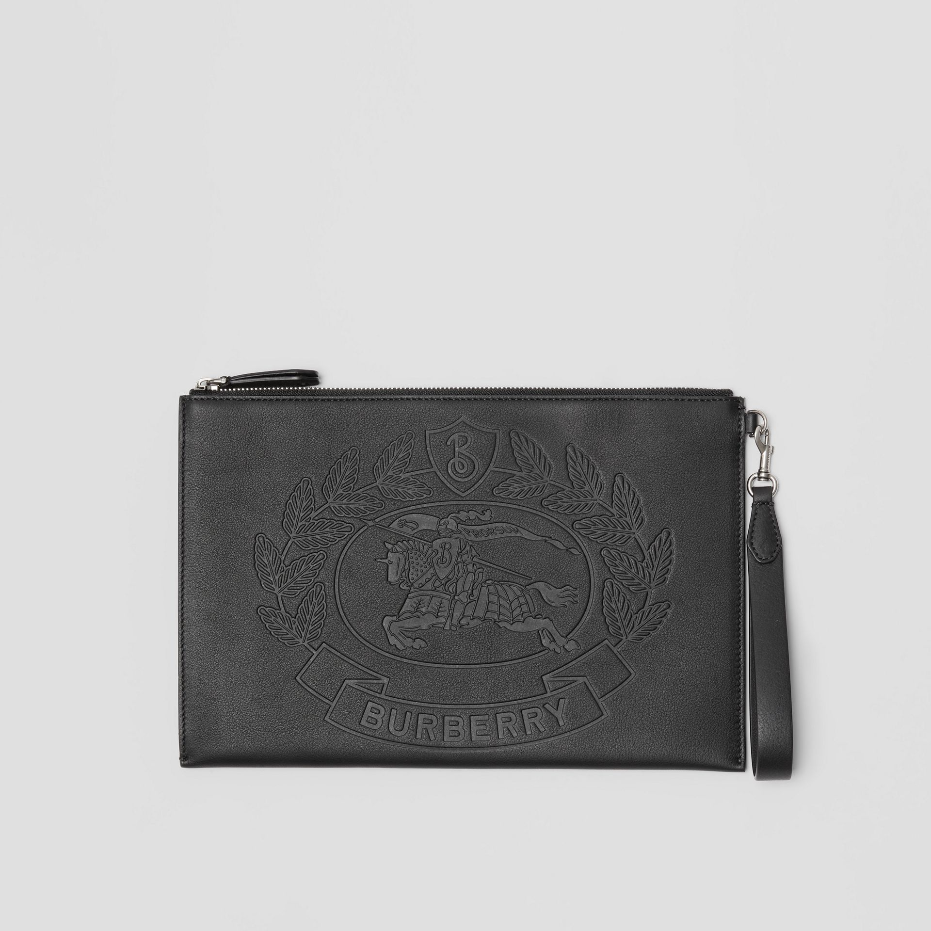 Embossed Crest Leather Zip Pouch in Black - Men | Burberry - gallery image 0