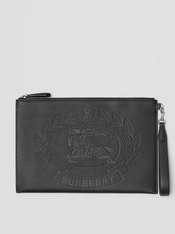 Embossed Crest Leather Zip Pouch in Black