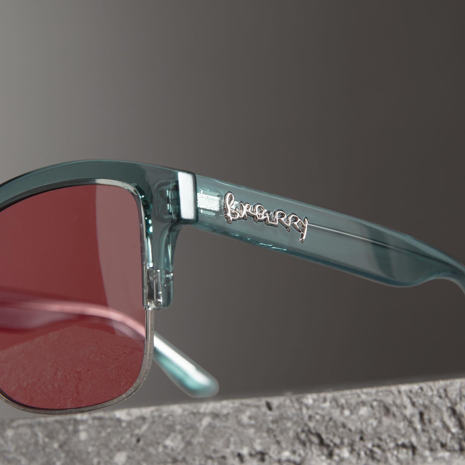 Doodle Square Frame Sunglasses in Blue - Women | Burberry - gallery image 1