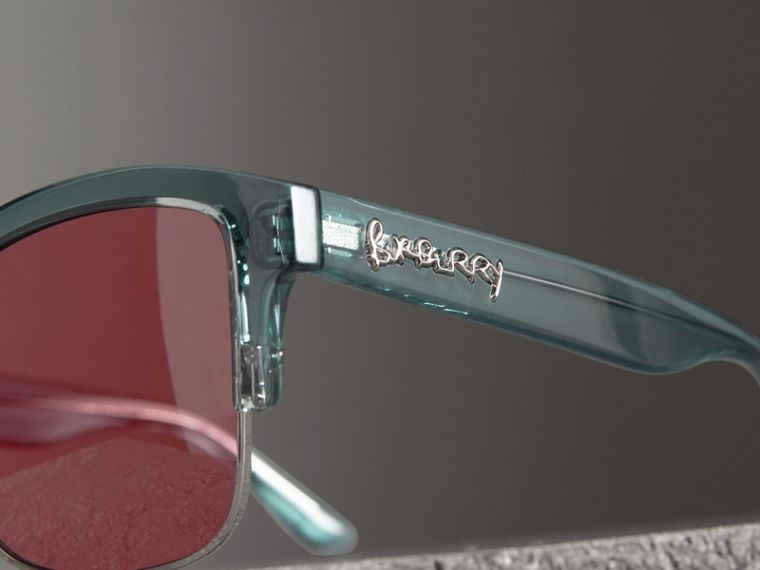 Doodle Square Frame Sunglasses in Blue - Women | Burberry - cell image 1