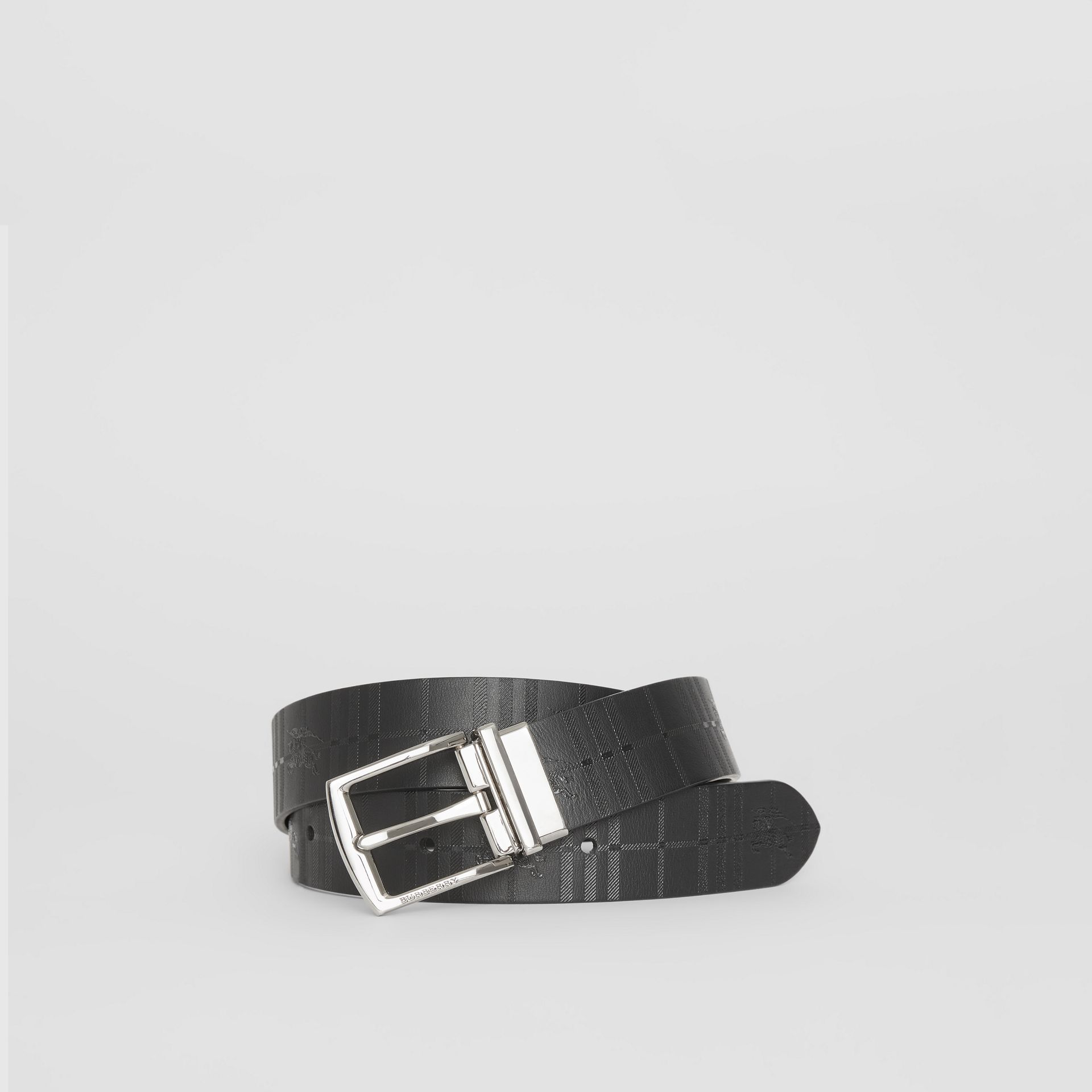 Reversible EKD Check Leather Belt in Black - Men | Burberry Singapore - gallery image 0