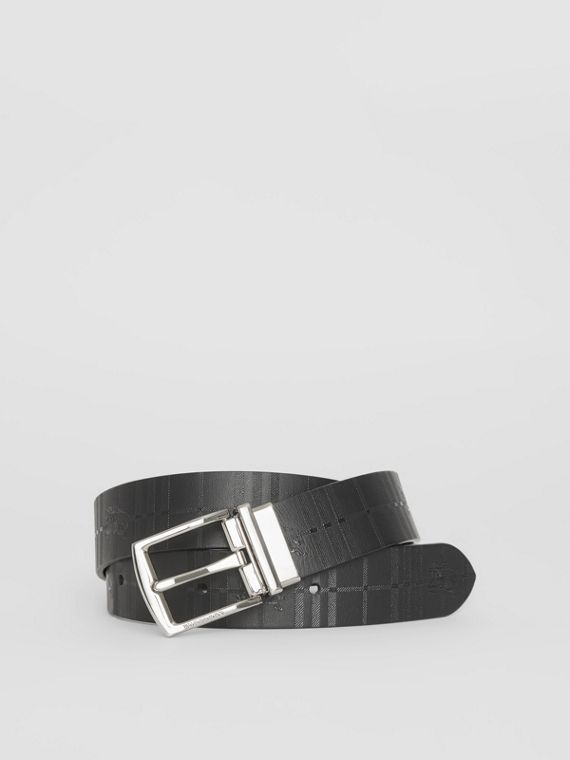 Reversible EKD Check Leather Belt in Black