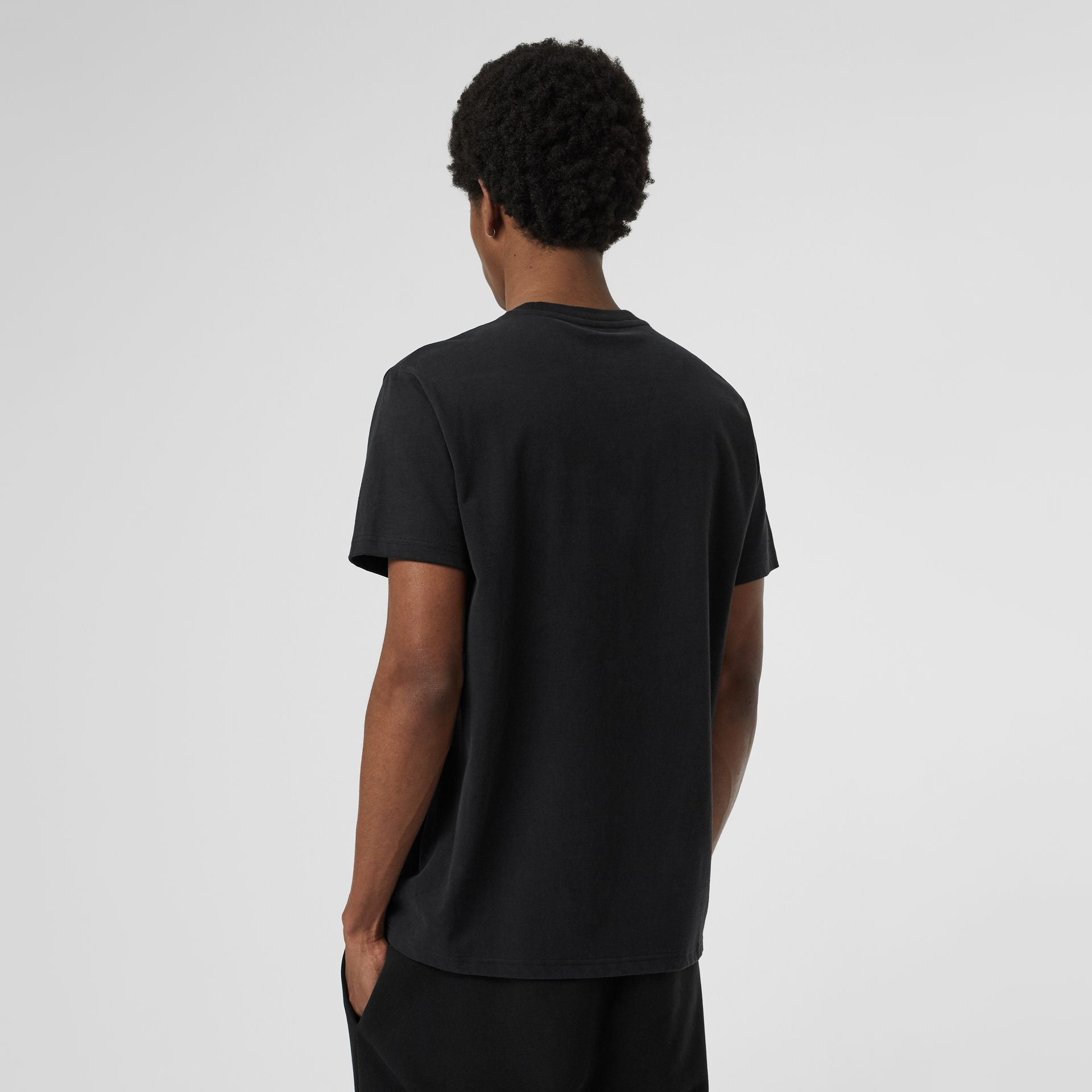 Contrast Crest Cotton T-shirt in Black - Men | Burberry - gallery image 2