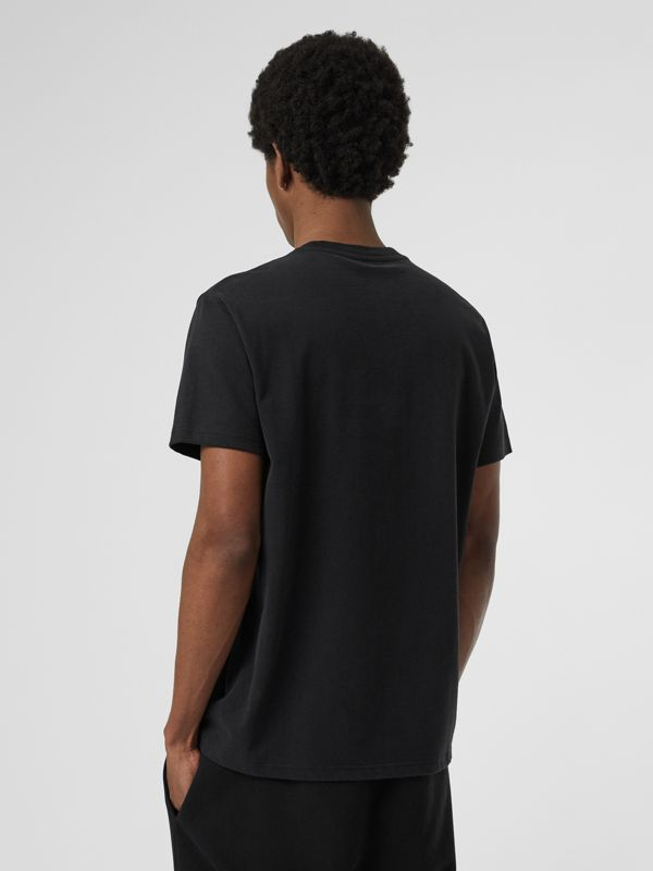 Contrast Crest Cotton T-shirt in Black - Men | Burberry Australia - cell image 2