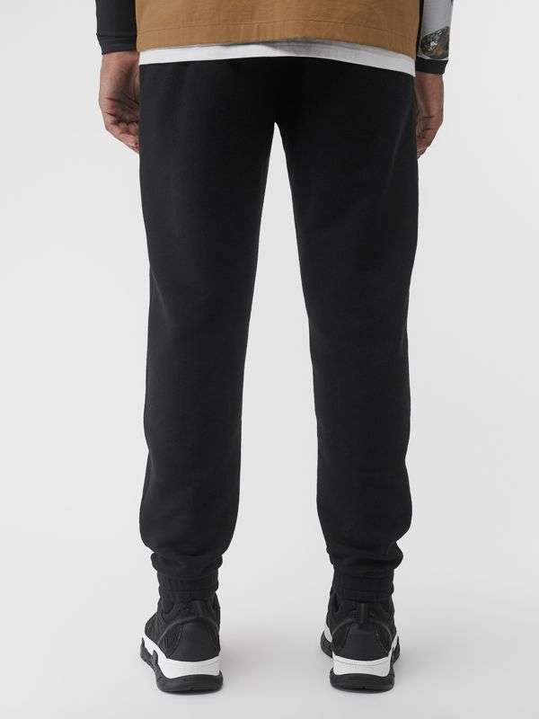 Logo Print Cotton Trackpants in Black - Men | Burberry Singapore - cell image 2
