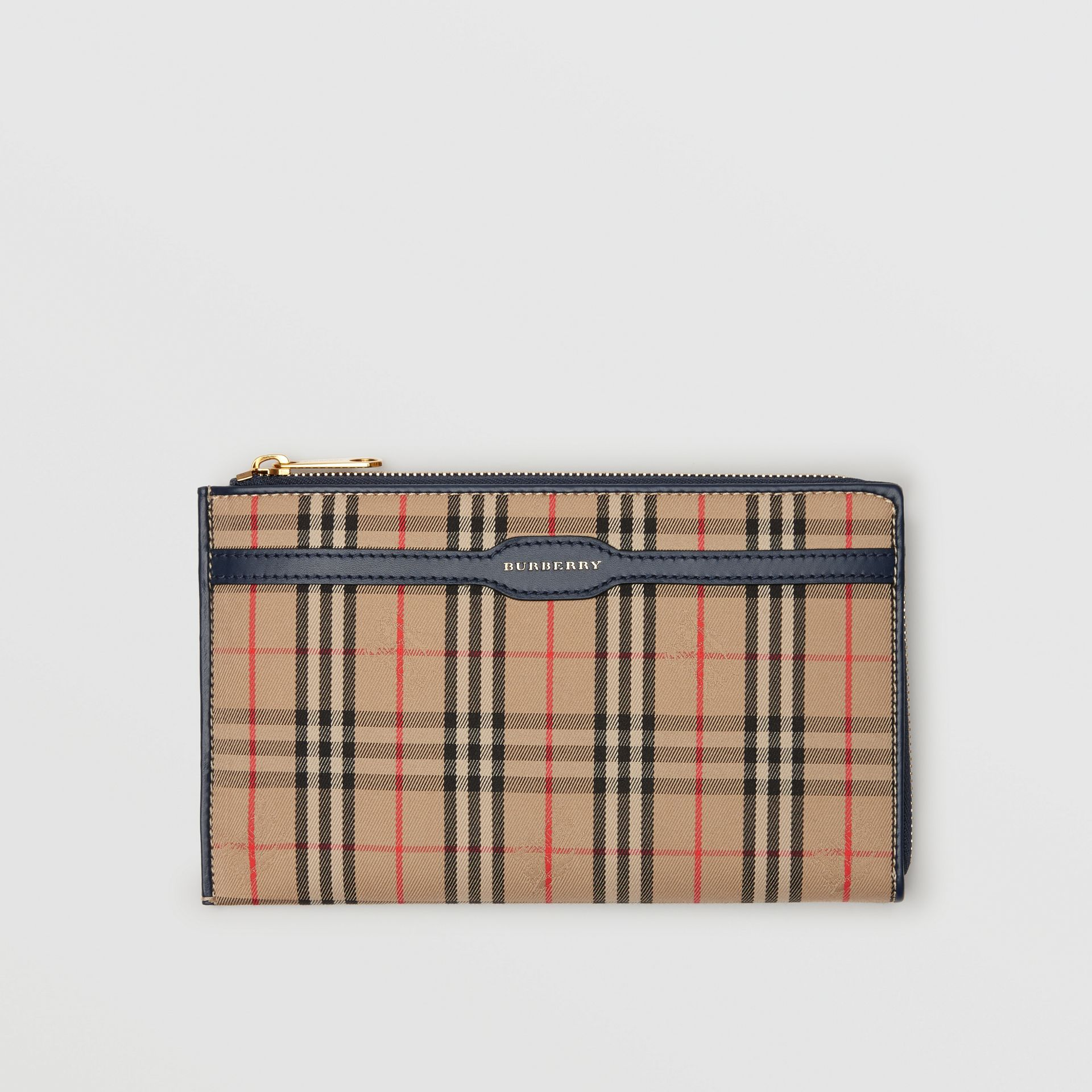 1983 Check and Leather Travel Wallet in Ink Blue - Men | Burberry - gallery image 0