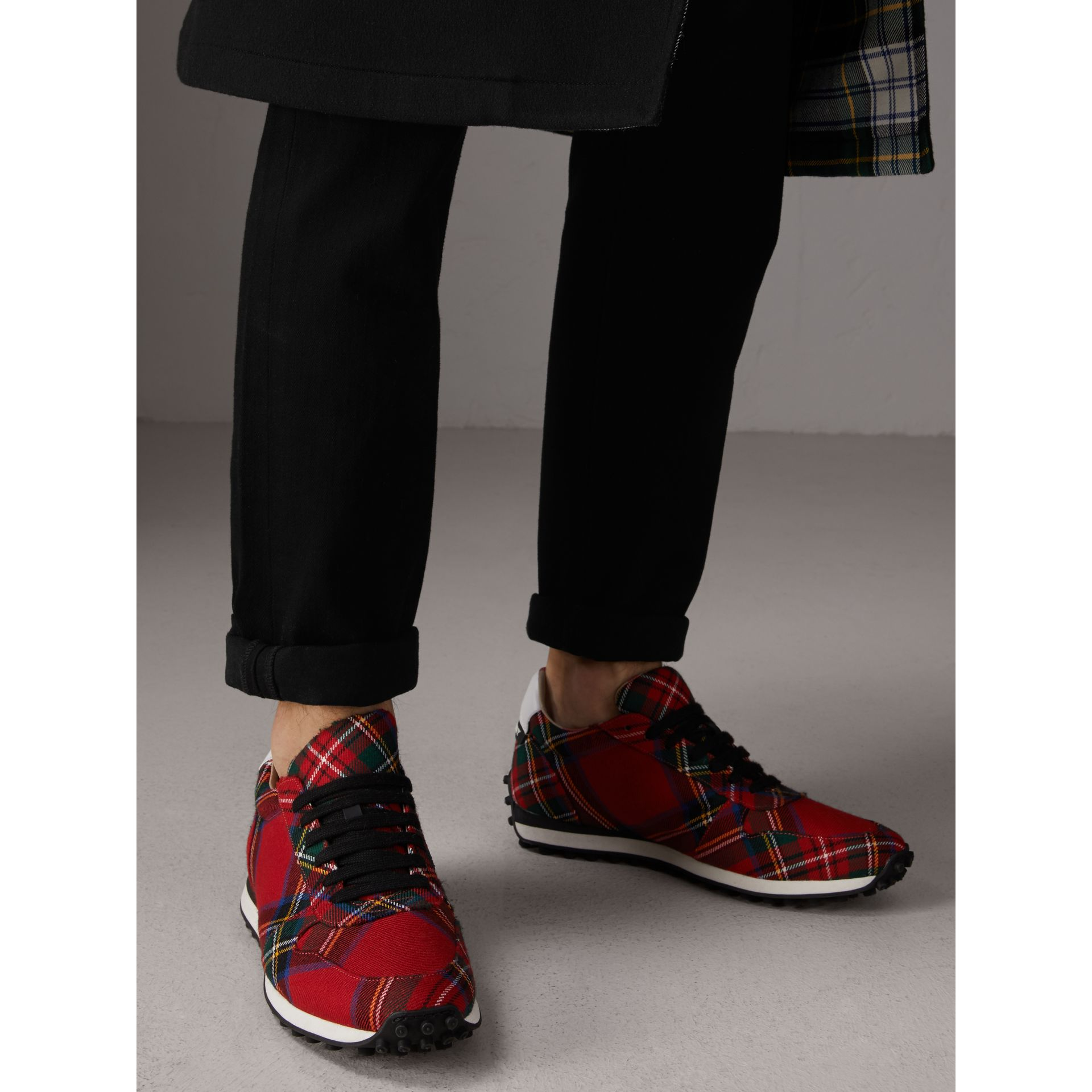 Tartan Wool Trainers in Red - Men | Burberry - gallery image 3