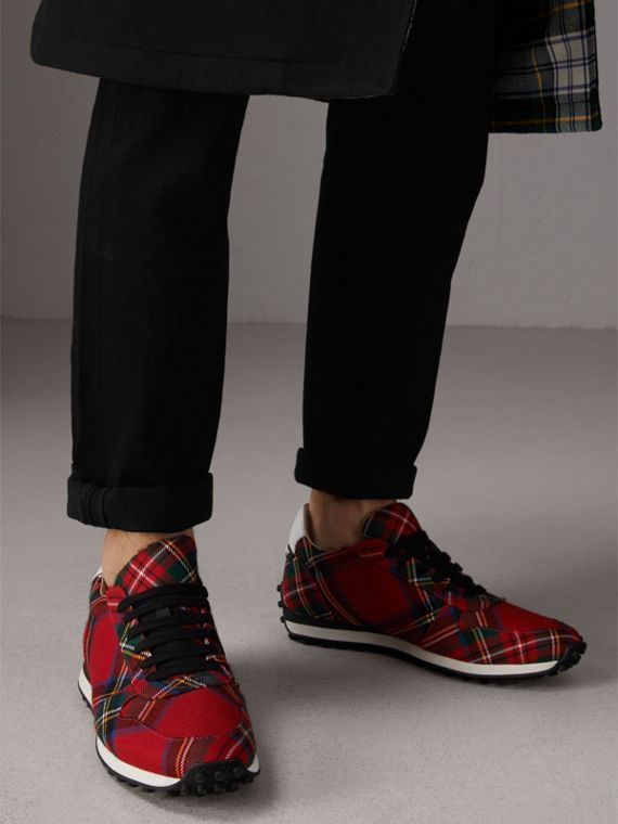 Tartan Wool Sneakers in Red - Men | Burberry Hong Kong - cell image 2