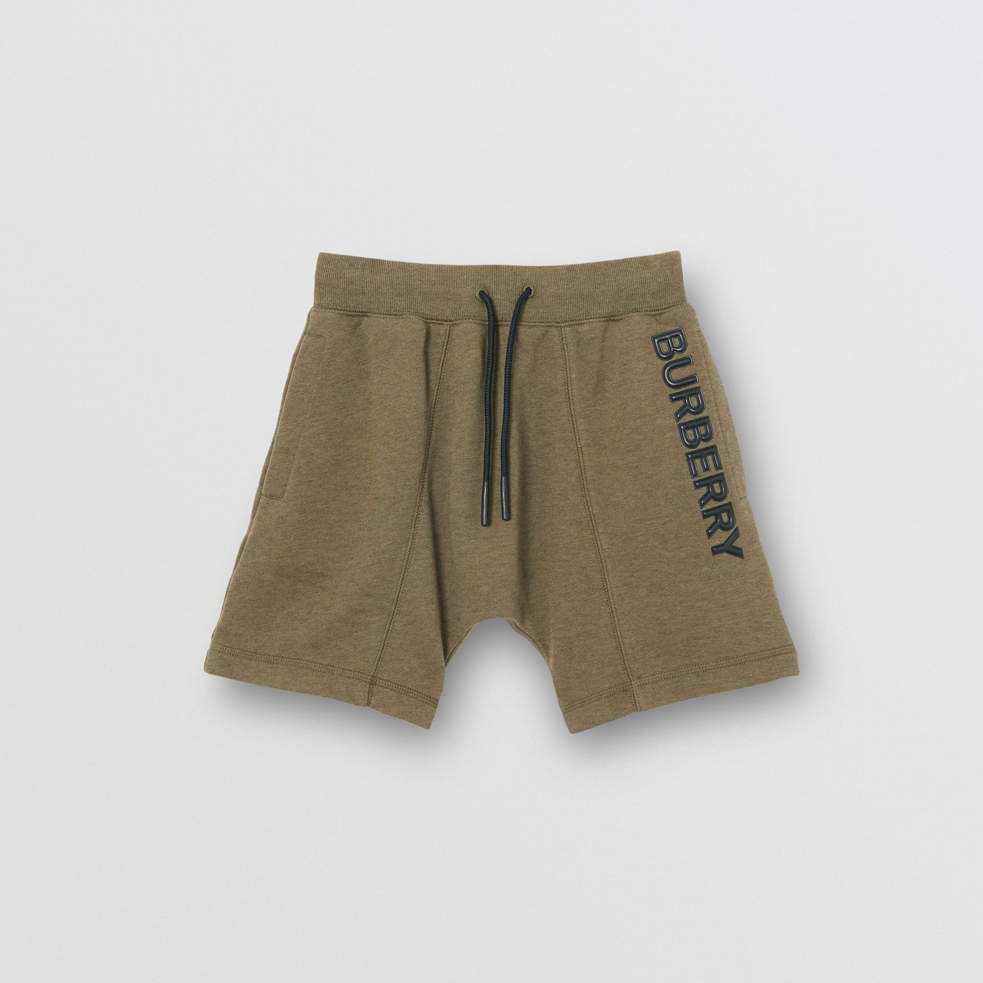 Logo Detail Cotton Drawcord Shorts in Military Olive | Burberry Singapore - gallery image 0