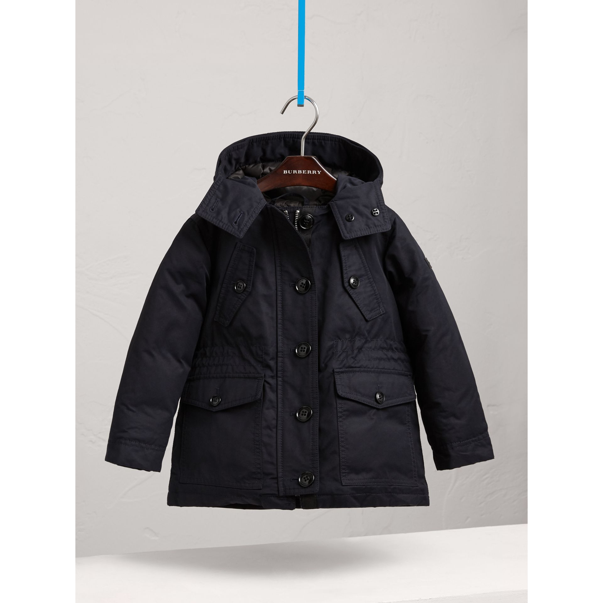 Detachable Raccoon Fur Trim Down-filled Hooded Puffer Coat in Navy - Girl | Burberry - gallery image 0
