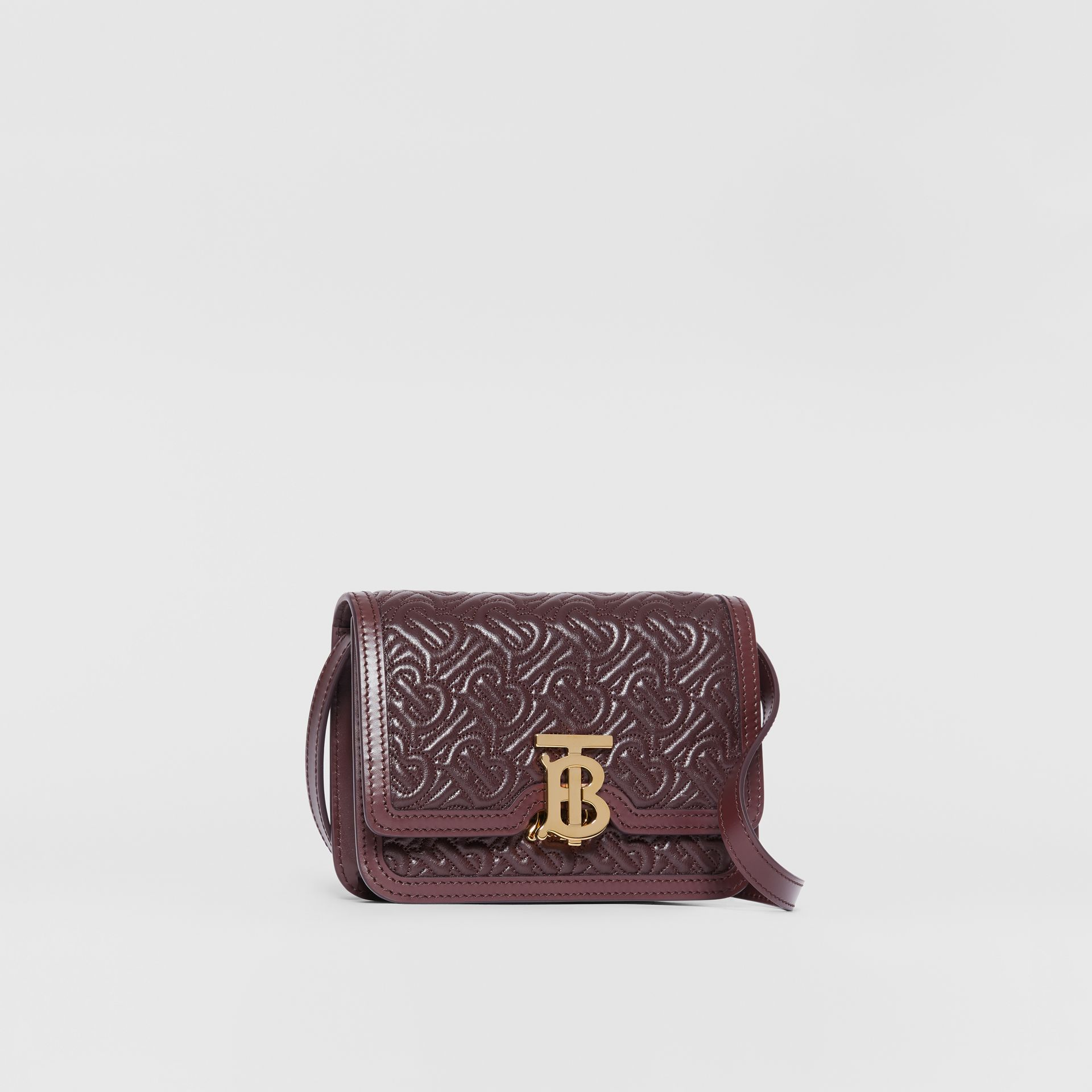 Mini Quilted Monogram Lambskin TB Bag in Dark Burgundy - Women | Burberry - gallery image 6