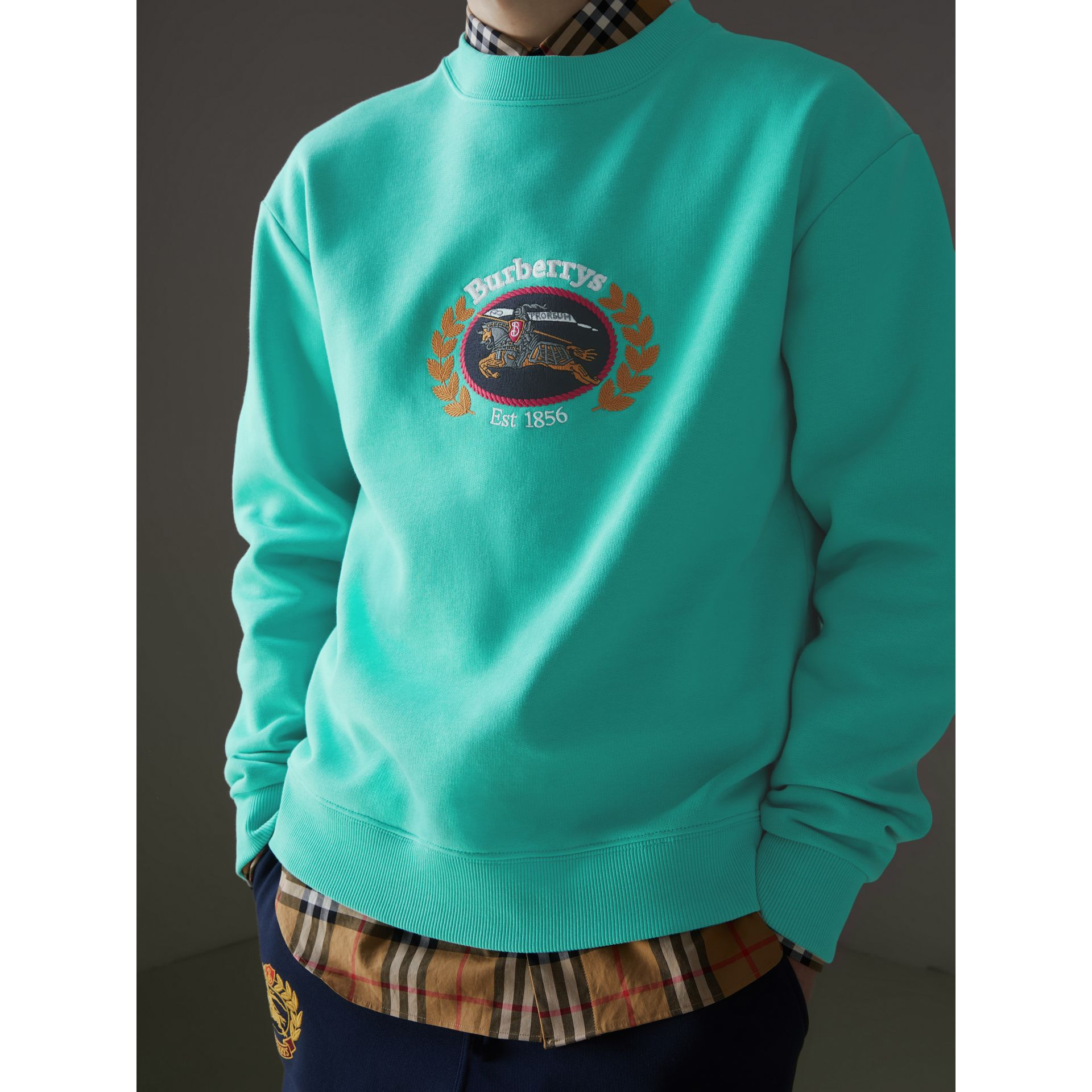 Sweat-shirt en jersey revisité (Aqua) - Homme | Burberry Canada - photo de la galerie 1
