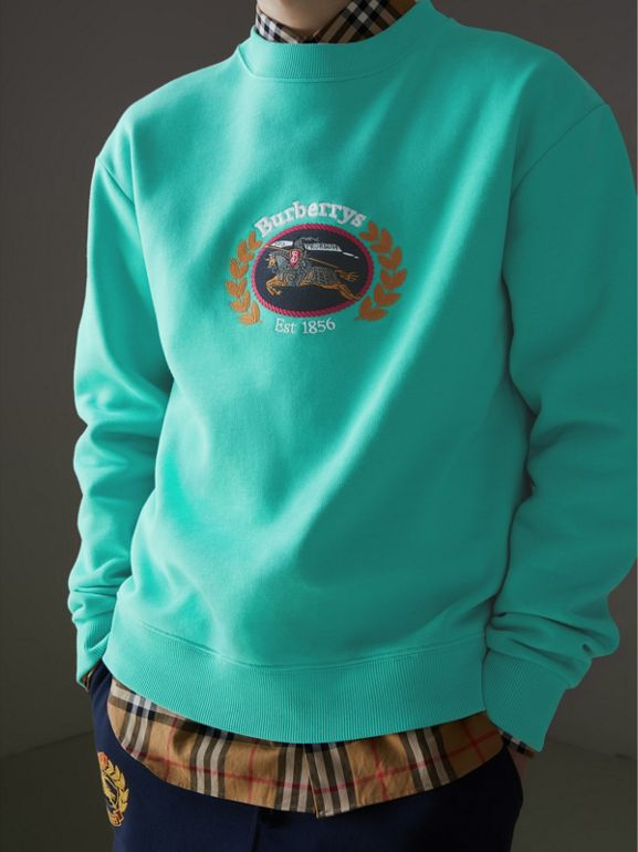 Reissued Jersey Sweatshirt in Aqua - Men | Burberry Singapore - cell image 1