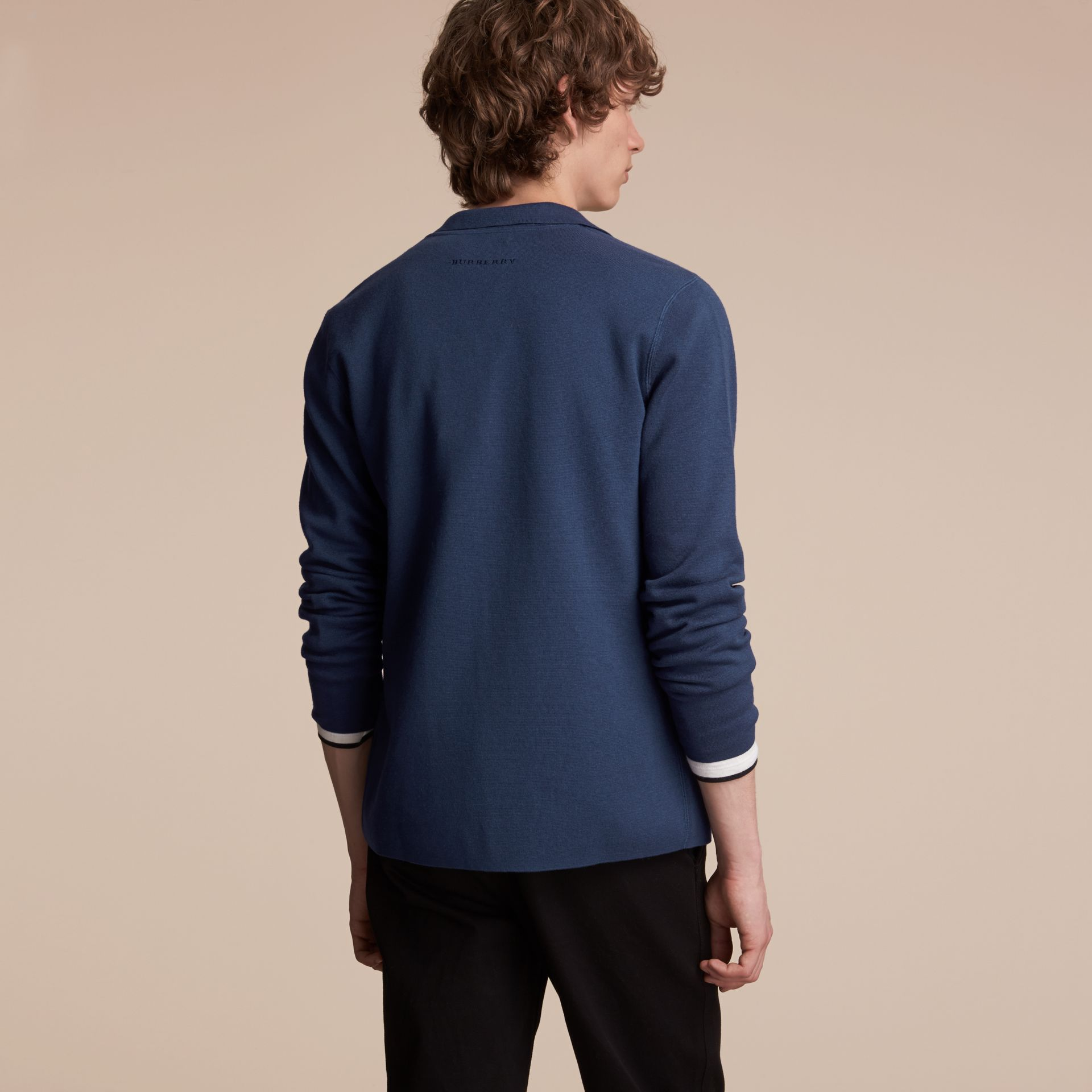 Knitted Cashmere Cotton Workwear Jacket in Steel Blue - Men | Burberry - gallery image 3