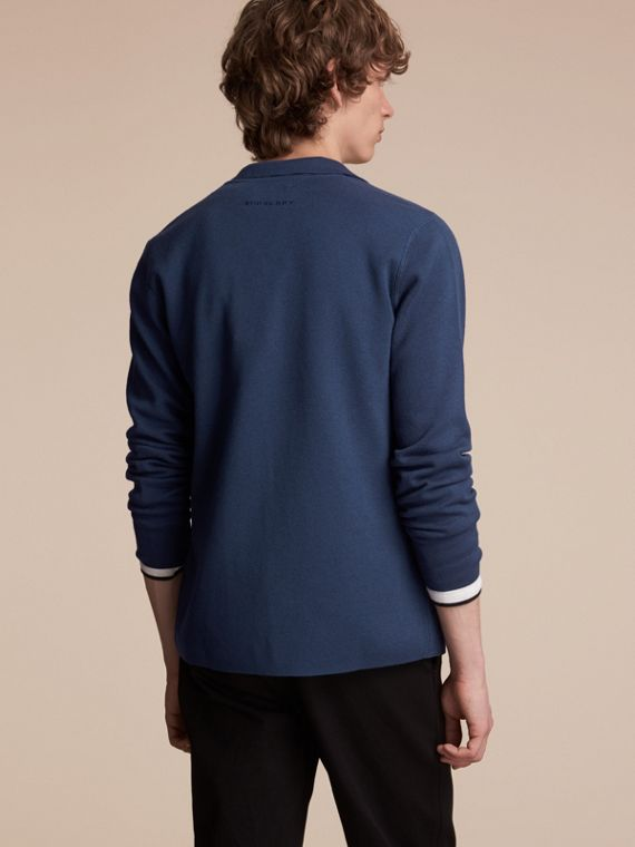 Knitted Cashmere Cotton Workwear Jacket in Steel Blue - Men | Burberry - cell image 2