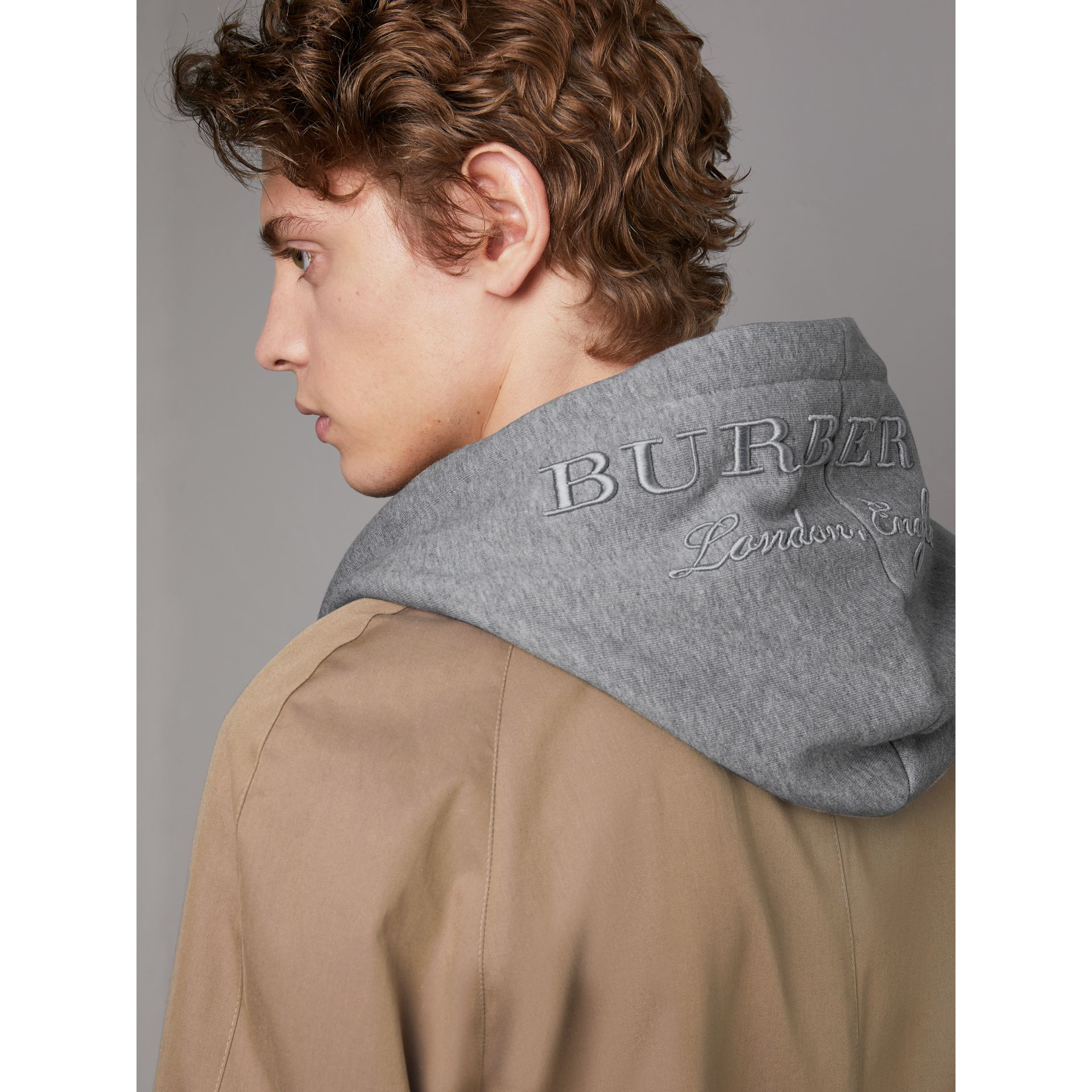 Cotton Jersey Zip-front Hooded Top in Pale Grey Melange - Men | Burberry - gallery image 1