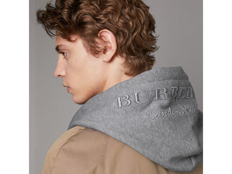 Cotton Jersey Zip-front Hooded Top in Pale Grey Melange - Men | Burberry United Kingdom - cell image 1