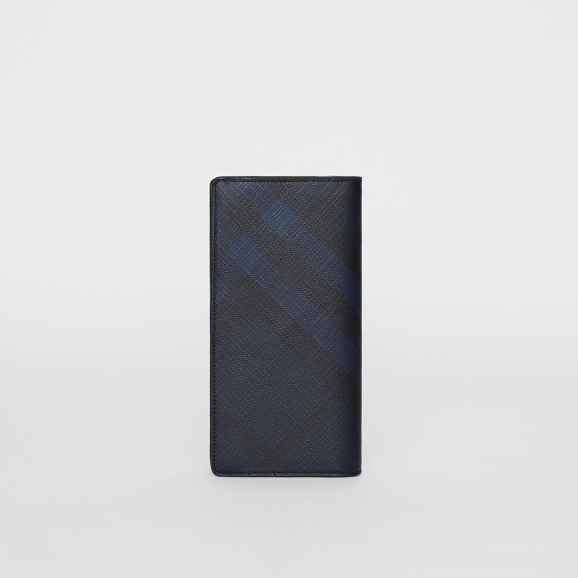 London Check and Leather Continental Wallet in Navy/black - Men | Burberry United Kingdom - gallery image 2