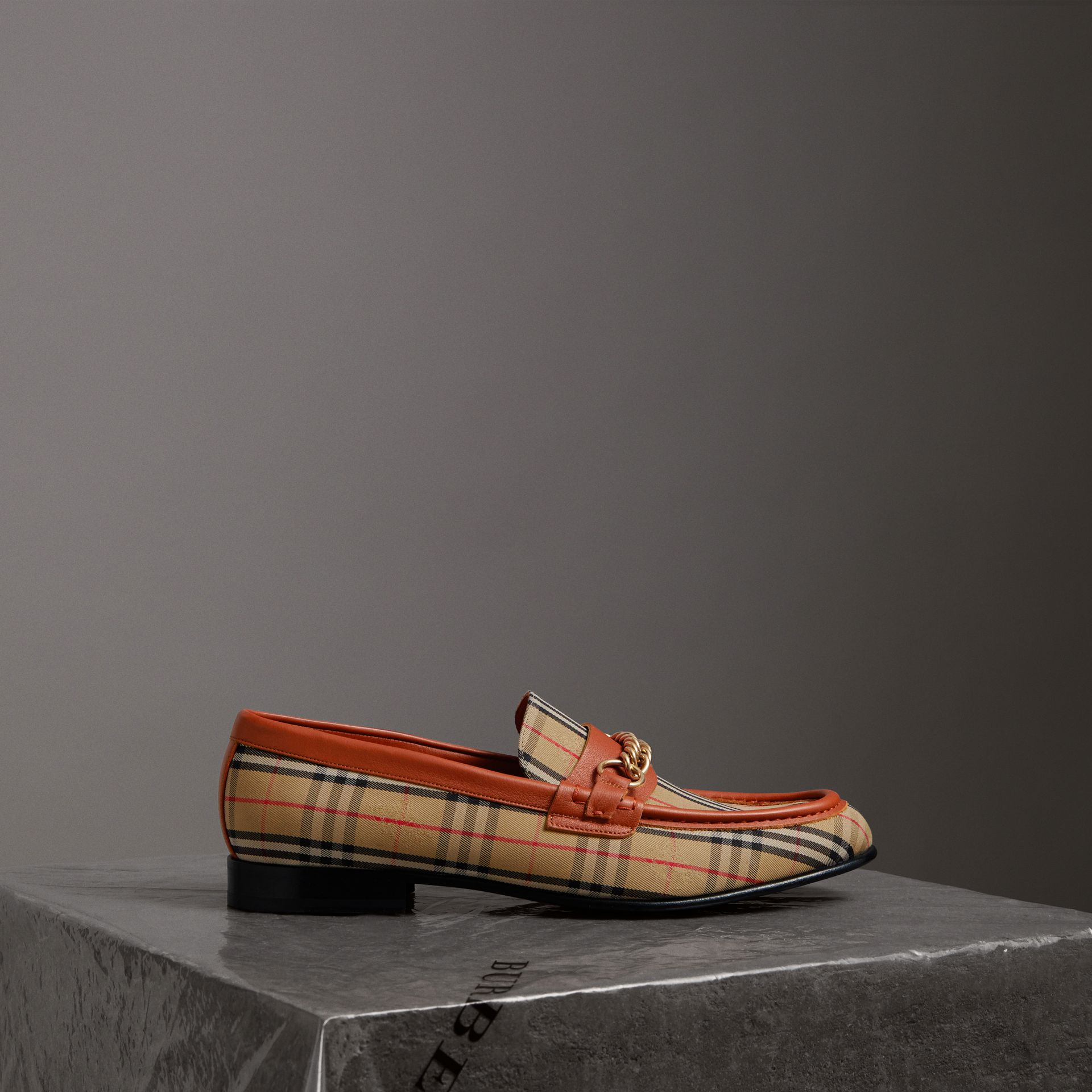 The 1983 Check Link Loafer in Brick Red | Burberry - gallery image 0