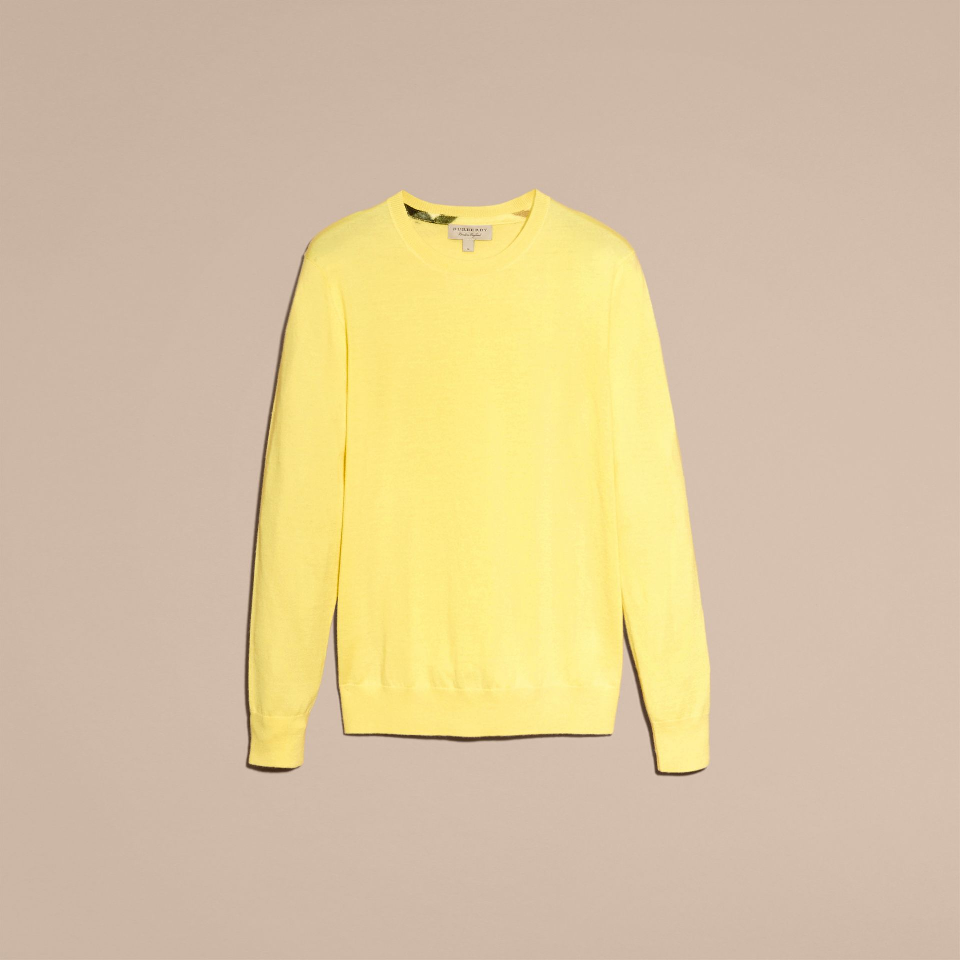 Lightweight Crew Neck Cashmere Sweater with Check Trim Pale Lemon - gallery image 4