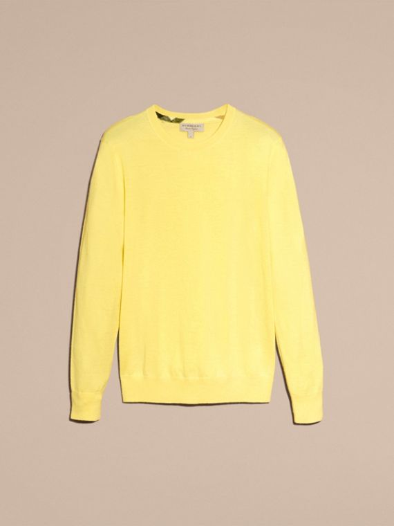 Lightweight Crew Neck Cashmere Sweater with Check Trim Pale Lemon - cell image 3