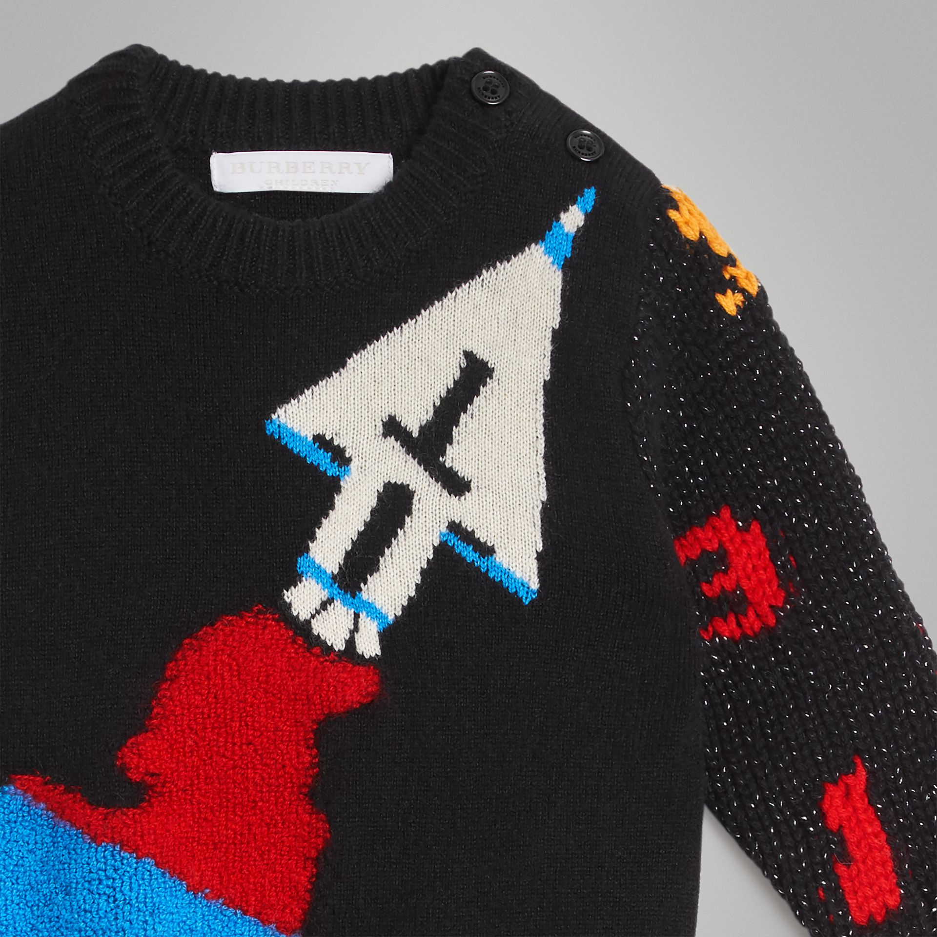 Rocket Detail Intarsia Cashmere Blend Sweater in Black - Children | Burberry Australia - gallery image 4