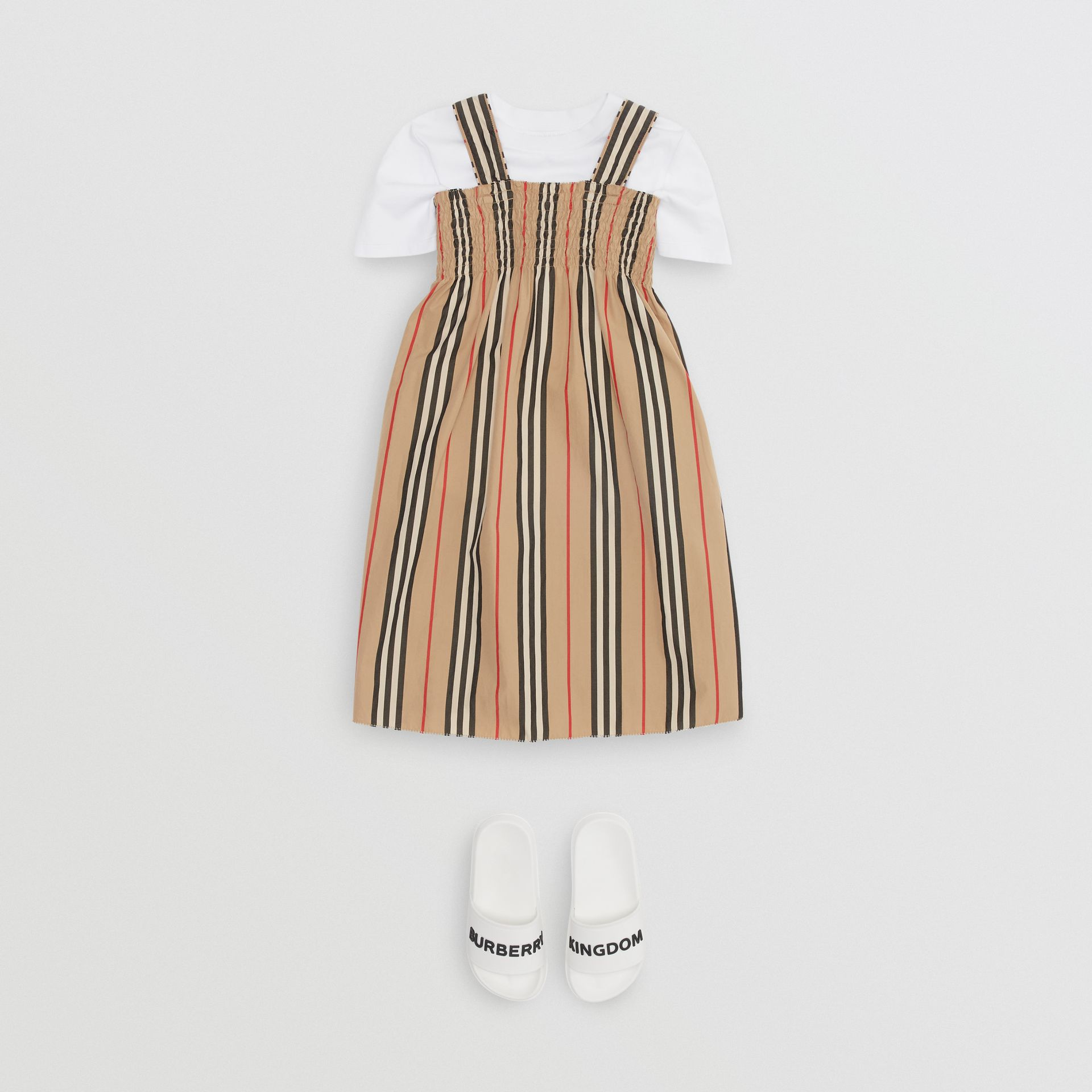 Smocked Icon Stripe Cotton Dress in Archive Beige | Burberry United Kingdom - gallery image 2