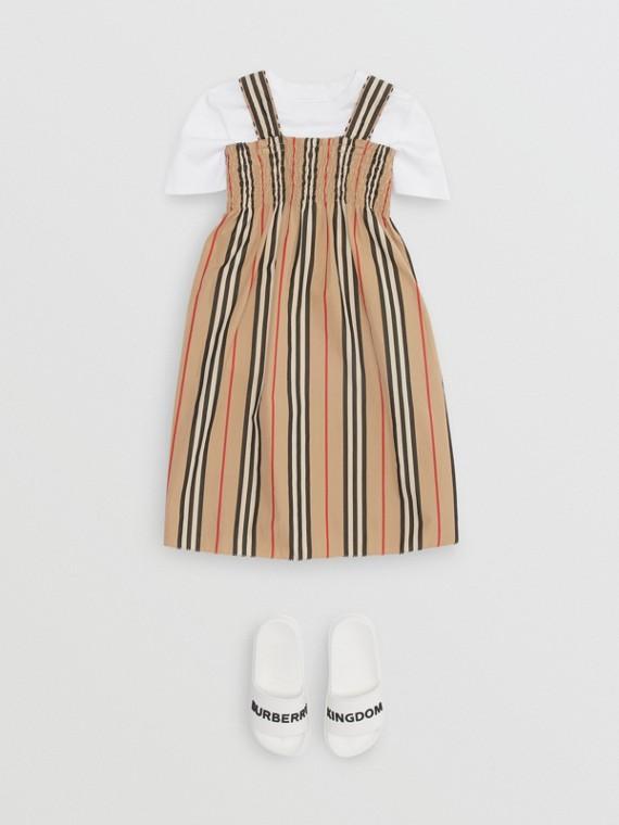 스목 아이콘 스트라이프 코튼 드레스 (아카이브 베이지)