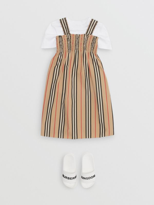 Smocked Icon Stripe Cotton Dress in Archive Beige | Burberry United Kingdom - cell image 2